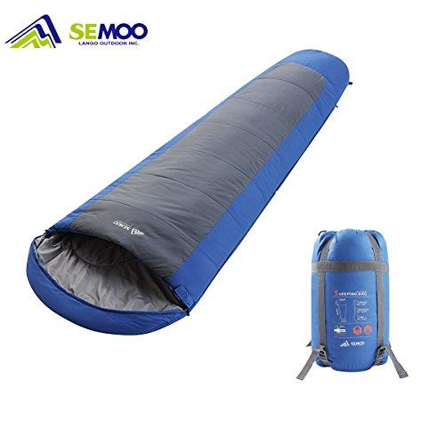 SEMOO Mumienschlafsack, 200x75cm, Warm Leichte Schlafsack, 3/4 Jahreszeiten, Kompressionspacksack