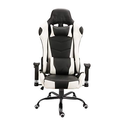 Silla de competición moderna y cómoda silla de oficina ergonómica de cuero PU asiento de cubo de respaldo alto sillón con reposacabezas y almohada lumbar silla e-sports (negro y blanco)