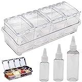Saijer - Caja de condimentos de acrílico, con tapa y cuchara, transparente para condimentos, con 3 botellas de plástico transparente pequeñas, aptas para el hogar y el restaurante