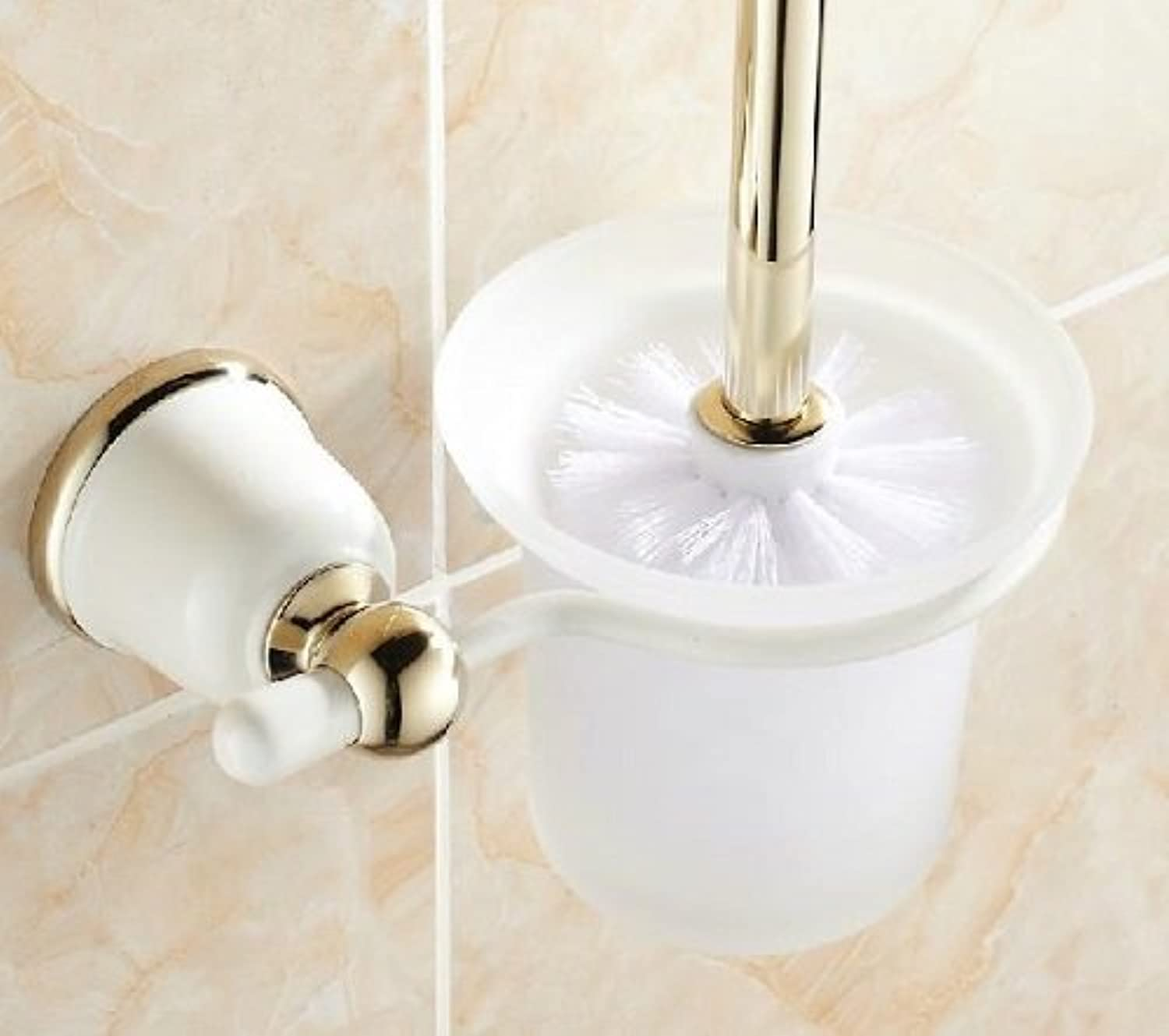 Bathroom Toilet Brush with Frosted Glass Cup and Brass Holder in White+gold Finish  MKL02A