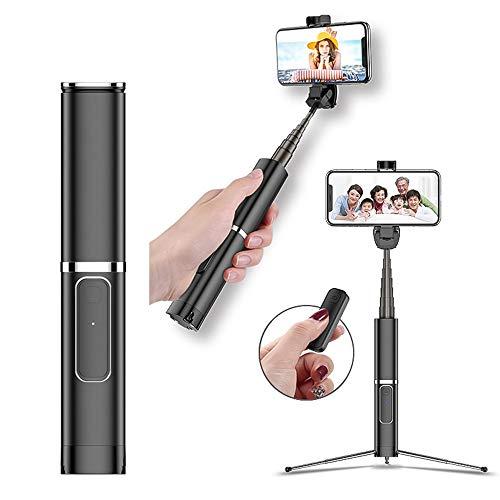 MHCYKJ Bluetooth Selfie Stick con Wireless Remote treppiede Portatile tenuto in Mano Selfie per iPhone Samsung Huawei Xiaomi