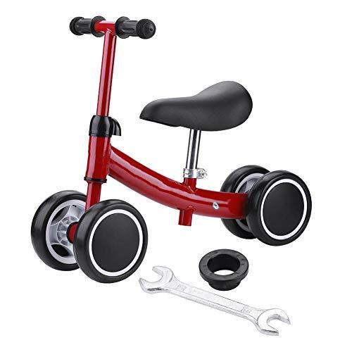 TAKE FANS Bicicleta de equilibrio para bebé, para niños, ajustable, para niños de 1 año, sin pedal 4 ruedas, para niños pequeños, regalos de primer cumpleaños (rojo)