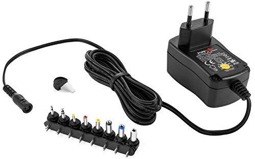 Poppstar Universal Netzteil 3/4,5/5 / 6/7,5/9 / 12 V 1A (1000mA) und 8 Adapter-Stecker, LED, 150cm