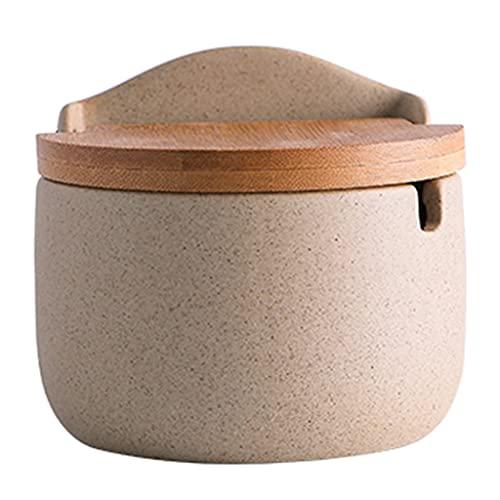 Spice Jar Tarro de Especias de cerámica 3 Piezas Tarro de Especias de 10.1 oz con Cuchara, Adecuado para la Cocina, Caja de Almacenamiento de café para el hogar