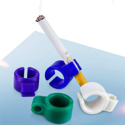 10 Pieces Cigarette Holder Ring Hands Free Smoking Ring Silicone Cigarette Ring Hands Free for Console Gamers Guitar Players and Driver(Random Color)