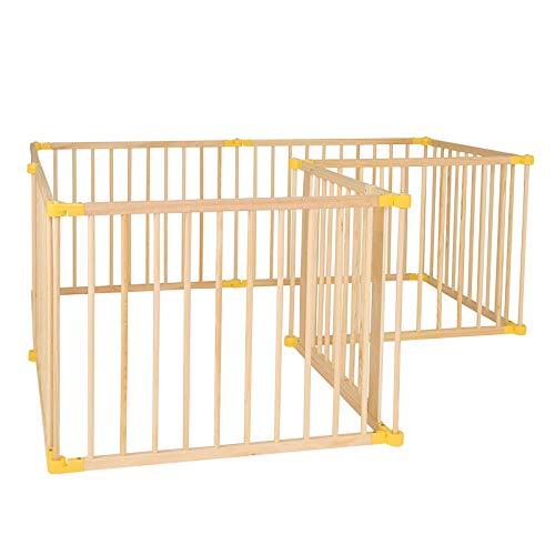 dibea DP00587, Parque infantil de madera para bebés y niños pequeños, 8 elementos por 90x68 cm, cerca con puerta, plegable a 270° y premontado