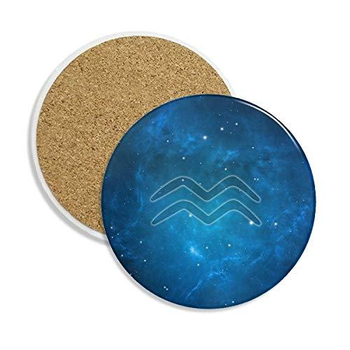 DIYthinker Sternennacht Wassermann Zodiac Constellation Stein Getränk Keramik-Untersetzer für Becher-Schalen-Geschenk 2pcs Mehrfarbig