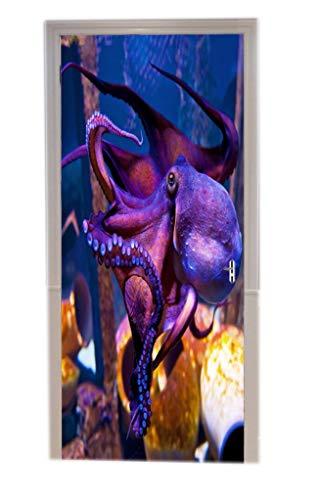 A.Monamour Türtapeten Selbstklebend 3D Lila Krake Im Blauen Planeten-Nationalen Aquarium In Unterwasserszenendruck Kopenhagens Dänemark Türtapete Türposter Tapete 77x200cm