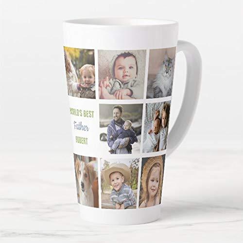 445 ml kubek do kawy, Worlds Best Father Name Instagram zdjęcie kolaż latte kubek, ceramiczny kubek podróżny latte z pokrywką i łyżką, kubek do herbaty