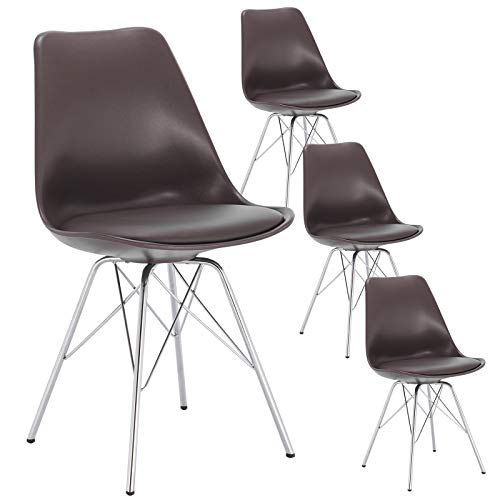 eSituro Sedie da Sala da Pranzo Sedia da Scrivania con Schienale Plastica/PU/Acciaio Cromato SDC0141-4 Marrone 4 Pezzi