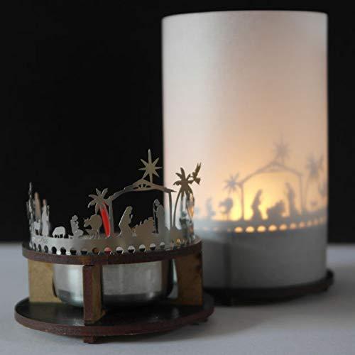 Candela votiva Krippe Orient da 13 grammi, in una confezione regalo premium, attacco in acciaio inox 3D incluso lumini tè, portacandele e schermo di proiezione
