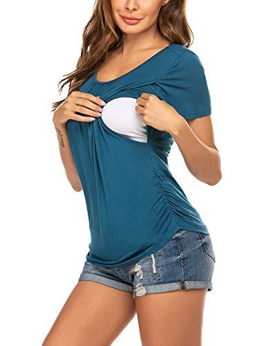 Unibelle Frauen Pflege/Geburt/Krankenhaus Nachthemd Kurzarm Nachthemd Umstandsnachthemd mit Knopf Stillnachthemd für Schwangere und Stillzeit
