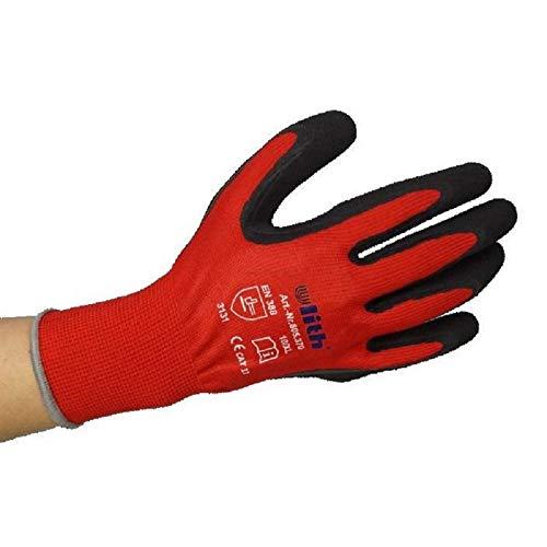 1 Paar ULITH® Feinstrick-Montagehandschuhe mit Latex-Soft-Beschichtung - rot/schwarz - Größe 7
