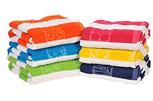 100% Cotton Bath Towel, Pack of 6, Cabana Stripe Beach Towel, Large Pool Towels (30