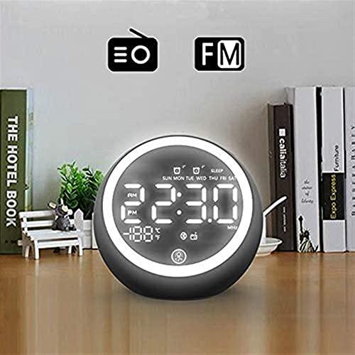 ミニ目覚まし時計、 導いたBluetoothスピーカーの夜のライトを備えた目覚まし時計、 FM.寝室、キャンプ、オフィスのためのラジオ、屋外無線ポータブルスピーカー。 (Color : Black)