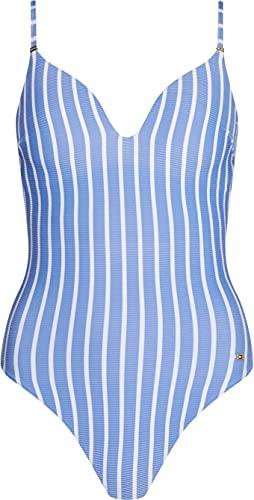 Tommy Hilfiger Damen ONE-Piece Badeanzug, Hilfiger Stripe Wonder Blue, L