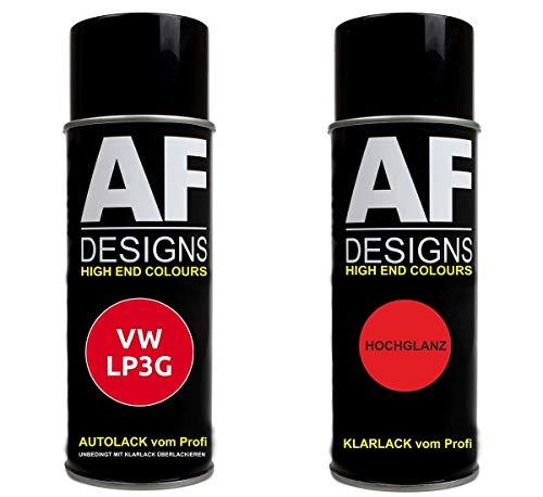 Alex Flittner Designs Autolack Spraydose Set geeignet für VW/Volkswagen Flashrot LP3G Basislack Klarlack Sprühdose 400ml