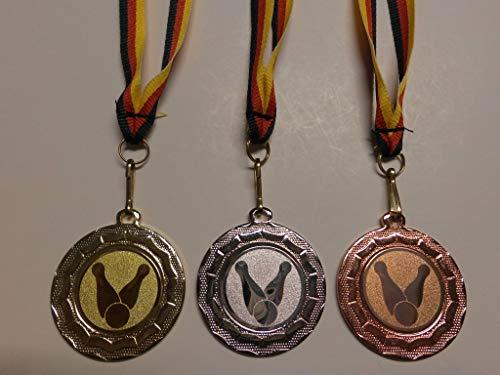 Fanshop Lünen Medaillen Set - aus Stahl 40mm - Bowling - Kegeln - Gold, Silber, Bronze, mit Alu Emblem 25mm - Bowlen - mit Medaillen-Band - Medaillenset -(e100) -