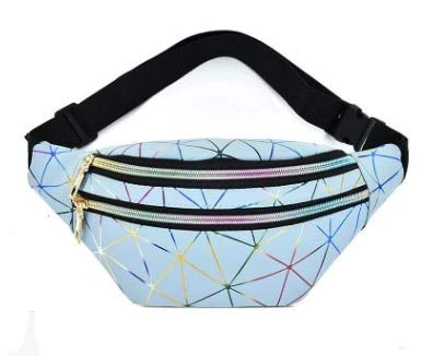 Holographic Fanny Pack Women Waist bag Female Belt Bag Girls Fashion  Geometric Waist Packs Laser Chest Phone Pouch - Blue
