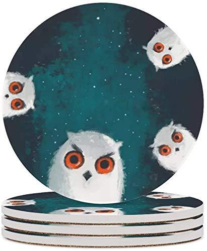 MZD - Sottobicchieri per gufi da caffè con occhi rossi, per occhiali, decorazione per la casa, in sughero, per soggiorno, tavolo, protezione dai graffi, 4 pezzi