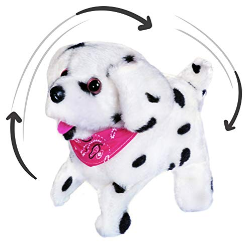 Haktoys Flip Over Puppy | Battery Operated Somersaulting, Walking, Sitting, Barking Plush Cute Little Dalmatian Dog | Great Gift for Animal and Pet Loving Toddlers & Kids