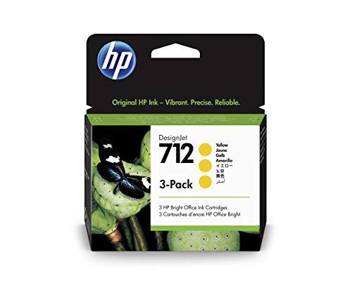 HP 712 3ED79A Amarillo, Paquete de 3 Cartuchos de Tinta Original HP, de 29ml, para Impresoras Plotter de Gran Formato HP DesignJet Series T650, T630, T250, T230 y Studio y Cabezal de Impresión HP 713