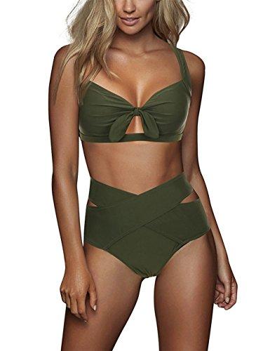 FeelinGirl Cruz Estilo Marino Dos Piezas Conjunto de Bikini para Mujer Traje de Baño Sexy Lazo-Verde Oscuro XL:Talla-44