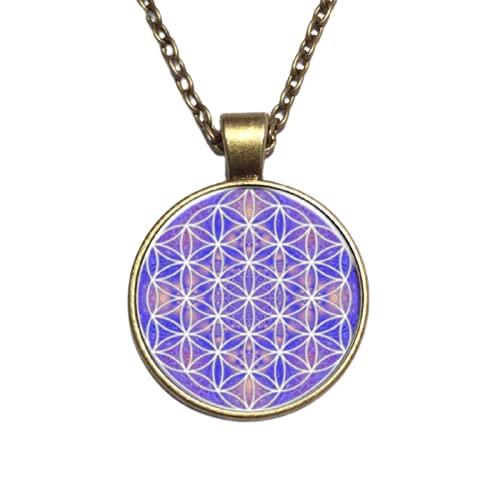 Colgante Collares Púrpura Flor De La Vida Collar Om Yoga Chakra Mandala Moda Cristal Dome Joyería Sagrada Geometría Mujeres