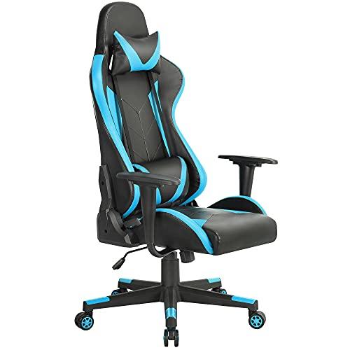 Yaheetech Gaming-Stuhl, hohe Rückenlehne, Videospiel-Stuhl, PU-Leder, Computer-Schreibtischstuhl, ergonomischer Gaming-Stuhl mit Lendenwirbelstütze