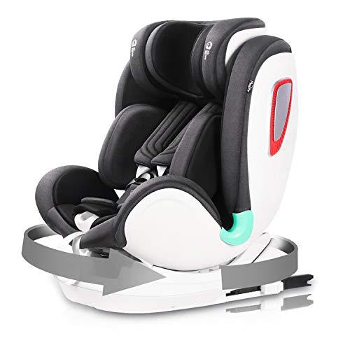 Miophy i-Size Kindersitz Autositz, Baby Autositz 360° drehbar mit ISOFIX und Top Tether (40-135cm), Ab Geburt bis ca. 12 Jahre, Seitenaufprallschutz (Schwarz)