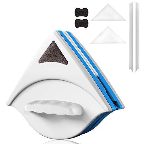 KOOLSENガラス掃除プロ用ツール 両面ガラスクリーナー 窓掃除クリーニングツール?ガラススクイジー シャワー室ガラスワイパー 磁気面クリーナー ワイパーブラシ ガラス拭き用 落下防止 ロープ付き (ガラス厚 3-8mm(青))