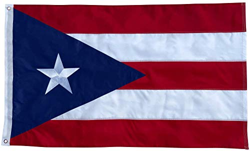 Puerto Rico Flag - 3x5 Foot Outdoor Nylon Banner with Embroidered Star and Double Stitched Sewn Stripes - Durable UV Fade Resistant Puerto Rican Flag