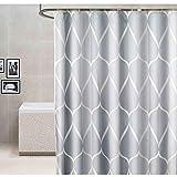 Xiongfeng Duschvorhang 240x200 Extra Breit Vorhang Textil Grau Weiß Gestreift Muster Blickdicht & Wasserabweisend Shower Curtains aus Polyester mit 16 Duschvorhangringen & Beschwertem Saum