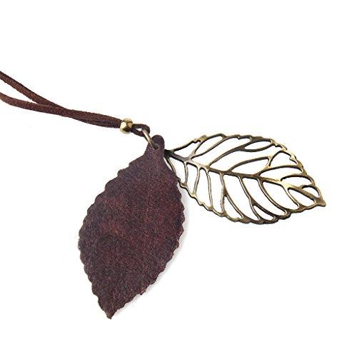 IPOTCH Collar Doble Hoja Aleación Colgante Cadena Mujer Vintage Regalo de la Joyería Niñas - marrón
