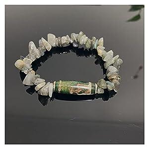 COKILU Natürliche tibetanische Dzi Agate Armbänder Heilung Buddha Gebet neunäugig Lotus Labradorite Mondstein Meditation Schmuck Armbänder Böse Spirituosen Geld Zeichnung Wohlstand Vermögen