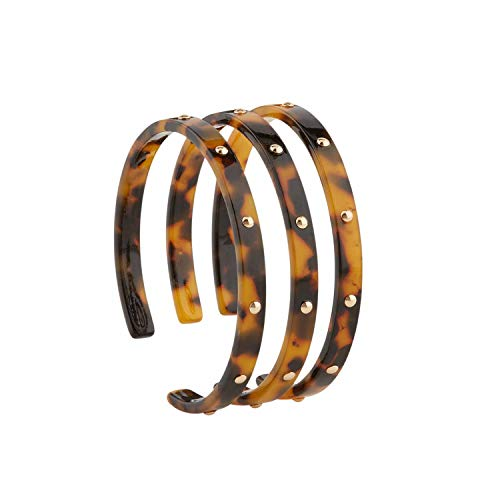 Mud Pie Studded Resin Cuff Trio (Brown)