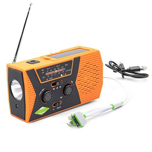 Service Survival Battery Powered Radio Charger - Emergency Radio Hand Crank Solar - LED Reading Lamp USB Phone - NOAA Weather Portable AM FM Radio - Camping Gear- 2000mAh Shortwave Hand Crank Radio