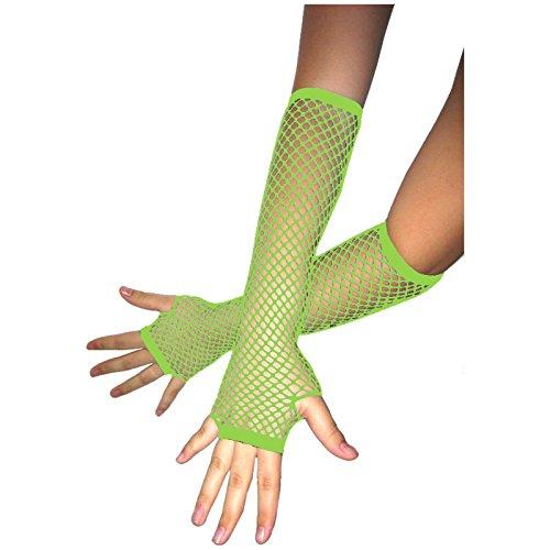 Unbekannt Fingerlose Netzhandschuhe Neongrün Abendgarderobe Netz Neon Grün Handschuh