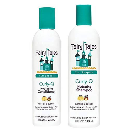 Fairy Tales Hair Care Curly-Q Curly Hair Shampoo and Conditioner Set - Hydrating, Paraben Free, Sulfate Free, Gluten Free, Nut Free - 8oz Conditioner with 12oz Shampoo