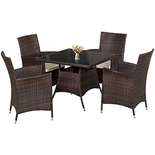 SUNCROWN 5 Piece Patio Dining Sets All-Weather Wicker Dining Table and Chairs with Washable Cushions, Square Tempered Glass Tabletop with Umbrella Cutout for Patio Backyard Porch Garden Poolside