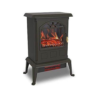 LifeSmart YH-20-2 1100 Watt Traditional Realistic Electric Quartz Infrared Heater Stove, Black
