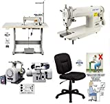 Industrial Sewing Machine Zoje ZJ-8700 Lockstitch Sewing Machine Servo Motor + Table Stand Cut Juki DDL8700 with Ergonomic Chair + LED Lamp Commercial Grade Sewing Machine