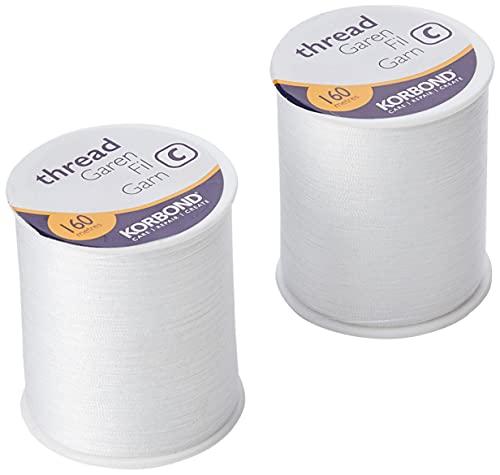 KORBOND Lot de Deux Fils en Polyester Universel Blanc 320 m pour la Couture Manuelle et à la Machine - Ne rétrécit Pas