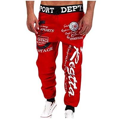 OFEFAN Men's Hip hop Loose Sweatpants Graffiti Sports Jogger Trousers