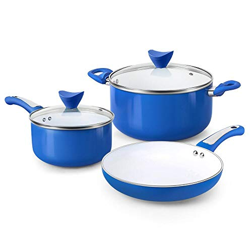 FGY 5 Pieces Non-stick Pots Pans Ceramic Coating Cookware Set with Induction Bottom, Perfect for Cooking & Colorful Pan Pot Set - Dishwasher safe (5-Piece, Blue)