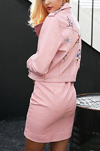Embroidery black leather jacket women Zipper motorcycle faux leather coat Winter biker jacket outerwear & coats Pink S