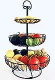Auroni Obst Etagere 3 stöckiger Obstkorb aus Metall - schwarz - mehr Platz auf der Arbeitsfläche - Größe: 47 cm hoch, max. Durchmesser: 30 cm -