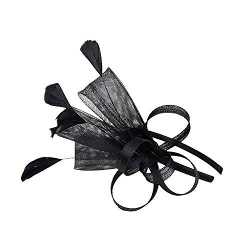 MagiDeal Dame Feder Fascinator mit Stirnband Schleifen Schleier Derby Cocktail Kostüm Kopfschmuck - Schwarz