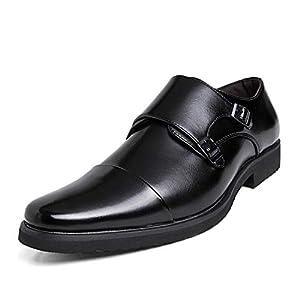[DUKLUCAK] ビジネスシューズ メンズ ウォーキング 防水高級レザー 黒 ブラック ブラウン 軽量 大きいサイズ 24cm~29㎝ 革靴 紳士靴 モンクストラップ 外羽根 防滑 防臭 防菌 通気 D52033B Black 27㎝