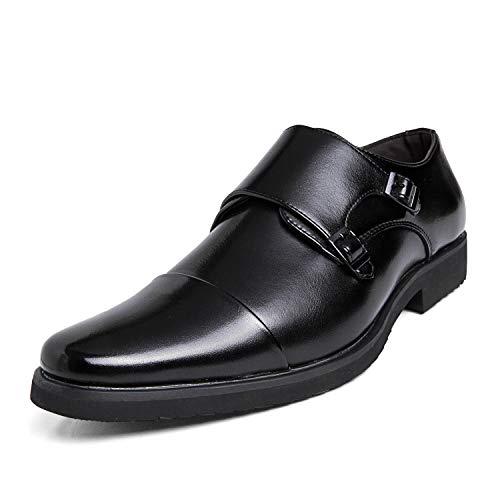 [DUKLUCAK] ビジネスシューズ メンズ ウォーキング 防水高級レザー 黒 ブラック ブラウン 軽量 大きいサイズ 24cm~29㎝ 革靴 紳士靴 モンクストラップ 外羽根 防滑 防臭 防菌 通気 D52033B Black 26.5㎝
